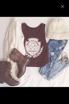 tank top combat boots brown leather boots cardigan white cardigan white jeans ripped jeans light jeans hat winter outfits light ripped jeans top crop tops t-shirt red top league outfit cute hipster girly ootd shoes
