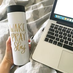 Wake. Pray. Slay - Sip your morning coffee out of this cute travel coffee mug!  This is a 16 oz, stainless steel travel mug. Designs are applied on the travel mugs using a premium commercial quality outdoor graphic vinyl. Vinyl is available in gold, pink, black, or silver. Please gently hand wash.  Travel mugs ship within 3-5 business days with Priority Mail 2-3 day shipping. Please contact me before purchasing if you need this item sooner