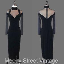 Vtg Tadashi 90s Dress XS Black Bodycon Sheer Grunge Velvet Poly Spandex USA