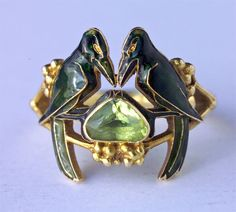 c. 1920's Art Nouveau Crow Mother of Pearl Brooch By Rene Lalique