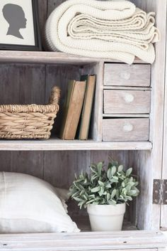 Step inside this beautiful Indiana farmhouse entryway decorated with a mix of timeworn antiques and unique DIY projects! Bookcase Makeover, Armoire Makeover, Furniture Makeover, Diy Furniture, Repurposed Furniture, Painted Furniture, Painting Bookcase, White Washed Furniture, Antique Armoire