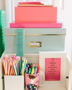 How to style an office with bright colors. Stay organized and stylish in your home office.