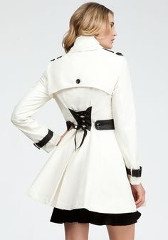 Jennifer Lawrence coat in Silver Linings Playbook - bebe Contrast Trim Trench Coat