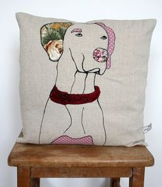 Appliqued Dog Cushion by florencev4 on Etsy, $40.00