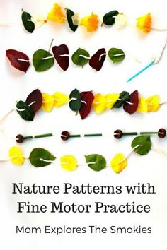 This fine motor learning activity for kids teaches patterning (patterns) while incorporating nature play.
