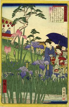 "Hiroshige III Japanese Woodblock Print ""Summer in An Iris Garden"""