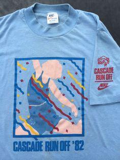 Vintage NIKE T-shirt 1982 80s Cascade Run Off Race Orange Swoosh Tag USA 50/50 M #Nike #GraphicTee
