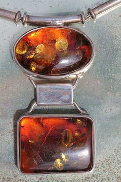 Vintage 925 Sterling Silver & Baltic Honey Amber Modernist Necklace