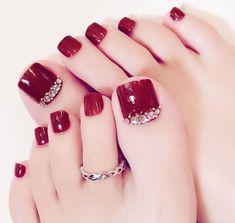 Pretty Toe Nails, Cute Toe Nails, Pretty Toes, Toe Nail Art, My Nails, Cute Toes, Toe Nails Red, Nail Nail, Nail Tip Art