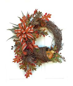 Cornucopia Fall Wreath for Door, Fall Decor, Autumn Wreath,Thanksgiving Decor,Autumn Decor,Outdoor Wreath,Front Door Wreath,Fall Door Wreath on Etsy, $169.00