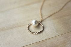 Eternity Hoop pearl necklace 2 TONE ring with pearl, bride, bridal, bridesmaids, forever friends, karma necklace, thin gold and silver  ring