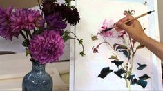 How to Paint Dahlia in Chinese Brush Painting with Sumi Ink and Watercol...