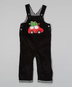 Look at this Mud Pie Black Tree Car Overalls - Infant