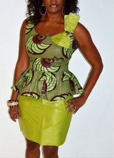 African Dress Ankara Dress Green Dress Traditional by ZabbaDesigns Ankara Clothing, African Print Clothing, African Print Dresses, African Fashion Dresses, African Dress, African Attire, African Wear, African Women, African Tops