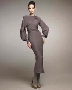 Belted Drape-Shoulder Dress by Donna Karan at Neiman Marcus.