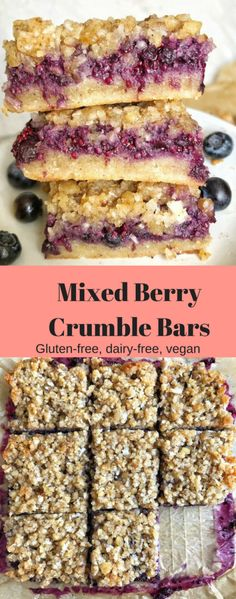 These easy vegan and gluten-free Mixed Berry Crumble Bars are bursting with sweetness and filled with fresh summer fruit!