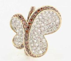 Estate 14 Karat Yellow Gold Orange White Diamond Butterfly Cocktail Ring Fine Jewelry found on Ruby Lane