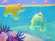 """""""Camel et Léon"""" Tableau déco hippopotame pour chambre d'enfant et de bébé. Dispo sur support poster, toile et estampe sur www.vincentdufour.com"""