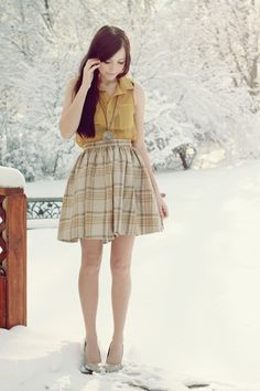 Tan-flattery-skirt-mustard-romwe-top-beige-poor-sparrow-necklace    Fashion Fashion Fashion  Mustard