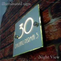 Illuminated Glass Mirror House Number Address Signs with Warm White LED Light - Sign96.com Online Sign Shop Trusted Source for Quality Signs & Solutions