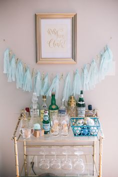 10 Easy Ways to Deck Out Your Home for the Holidays | Have your home bar cart always stocked and ready to entertain! Camille Styles