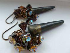 Glam Meets Goth Earrings Black and Bronze Spike by Northernblooms