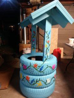Wishing well tire planter for Sale in Kalispell, MT - OfferUp Tire Garden, Garden Yard Ideas, Garden Projects, Diy Projects, Pallets Garden, Planters For Sale, Tire Planters, Wishing Well Garden, Reuse Old Tires