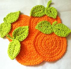 "Ravelry: ""Oranges"" Crochet Citrus Coasters pattern by Christine Longe"