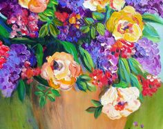 Lilacs Floral Still life Painting 16 x 20 Original Art by Elaine Cory