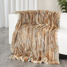 7b6a9652f5 The 100% authentic two sided knit rex rabbit fur throw sized blanket is  made from