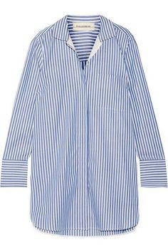 蓝色、黑色和白色纯棉府绸,蓝色、黑色和白色真丝双绉   正面配有全开式单排纽扣   100% 纯棉;边饰材质:100% 真丝   机洗或干洗