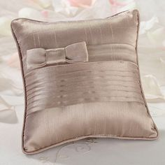 Taupe Pleated Ring Pillow Ring Bearer Pillows, Ring Pillows, Bed Pillows, Cushions, Wedding Ring Cushion, Cushion Ring, Wedding Pillows, Taupe Wedding, Wedding Ring Designs