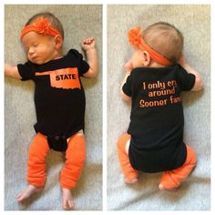 Black infant Oklahoma State University Onesie, 100% cotton. Onesie has an orange silhouette of the state of Oklahoma on the front and it says