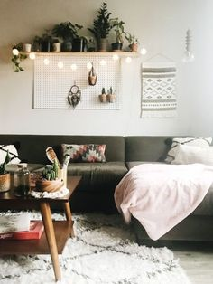 Interior Decor Destinee of Apartment 206 uses mini oriental string lights to add a little light and whimsy to her living room. Modern Rustic Decor, White Lanterns, Home Decor Accessories, Cheap Home Decor, String Lights, Home Remodeling, Oriental, Interior Decorating, Gallery Wall