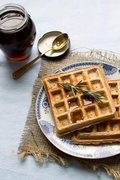 Whole Wheat Pumpkin Waffles with a kiss of Rosemary