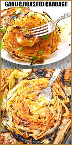 "Garlic Roasted Cabbage This Garlic Roasted Cabbage is such a tasty vegan dish. Savory with a light char, you're going to love these delicious flavors and textures. FOLLOW Cooktoria for more deliciousness! #cabbage #vegan #plantbased #vegetarian #cooktoria • To attract a new lover, light a red candle to St. Barbara and ask her to make you attractive to your soulmate. • To keep you on your lover's mind, do this after each time you part ways. Strike a match on the heel of your shoe and say ""Be… Healthy Vegetarian Breakfast, Vegetarian Roast, Vegetarian Recipes, Healthy Low Carb Recipes, Healthy Crockpot Recipes, Cooking Recipes, Recipes Breakfast Video, Easy Dinner Recipes, Dinner Ideas"