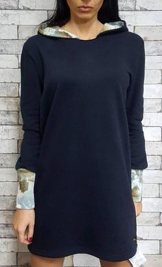 Short warm cotton hoody dress with angora inside of cap and on sleeves, each unique color combination, one universal size (eur 38 40 42 44)