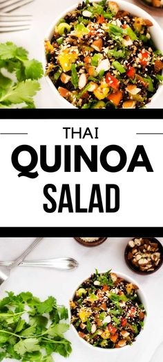 Of all the quinoa recipes I've made, this Thai Quinoa Salad is one of my all-time favorites. The first time I made it I fell in love and that love has never dulled through the years. What I love most about this recipe is the way the flavors and textures play together. The bright dressing features lime juice, sesame oil, and garlic and just the right blend of sweet heat. It plays perfectly with ridiculously aromatic mint and cilantro. Quinoa Recipes Easy, Vegetarian Salad Recipes, Healthy Gluten Free Recipes, Healthy Dinner Recipes, Healthy Food, Easy High Protein Meals, Veggie Side Dishes, Sesame Oil, Lime Juice