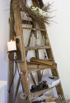 Ladder confession - Funky Junk Interiors - I want an old wooden ladder to use to grow a vine on in my garden - Antique Ladder, Vintage Ladder, Vintage Decor, Old Ladder Decor, Vintage Shelving, Rustic Ladder, Vintage Display, Funky Junk Interiors, Country Decor