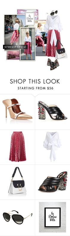 """""""Street Style - Gucci Pleated printed lamé skirt"""" by ivyargmagno ❤ liked on Polyvore featuring Malone Souliers, Gucci, Gola, Chicwish, J.W. Anderson, CÉLINE, Dolce Vita, GetTheLook, StreetStyle and women"""