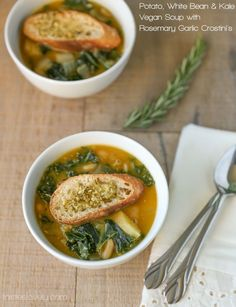 Potato, White Bean & Kale Vegan Soup with Garlic Rosemary Crostini's