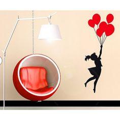 wall sticker skygge pige røde balloner