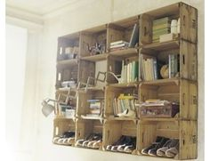 Art Studio -- shelving.  (use wooden cheese boxes)