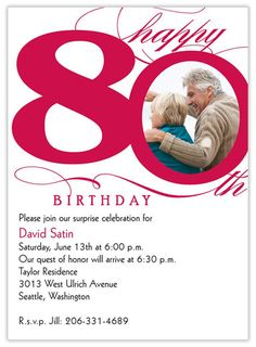 50th 60th 70th 80th 90th birthday photo digital invitation 80th milestone birthday filmwisefo Choice Image
