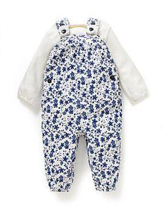 White Mix 2 Piece Cotton Rich Floral Dungaree & Bodysuit Outfit
