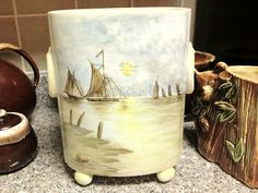 Antique 19th C. Limoges Porcelain Cachepot - Hand-Painted W/ Sail Boats/Windmill