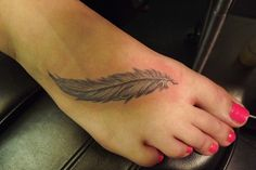 Awesome Feather Tattoo On Foot For Girls | Tattoobite.