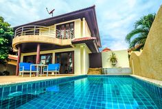3-bedroom villa with sea view, private yar, swimming pool, living room, kitchen in 1,5 km to the sea on Bangrak for ฿70 000 per month