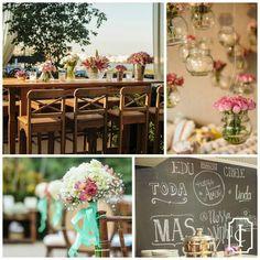 Muito charme e aconchego em uma decoração cheia de mix de estampas, móveis de madeira e flores em tons de rosa e branco. Foto #ClaudiaRuiz Décor #Golden3D   #inesquecivelcasamento #clubeic #icrj #3rstudio