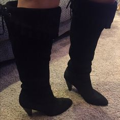 BCBG  tie up boots Black real suede BCBG pointed toe boot. Lace up back. Chunky heel. BCBGeneration Shoes Heeled Boots